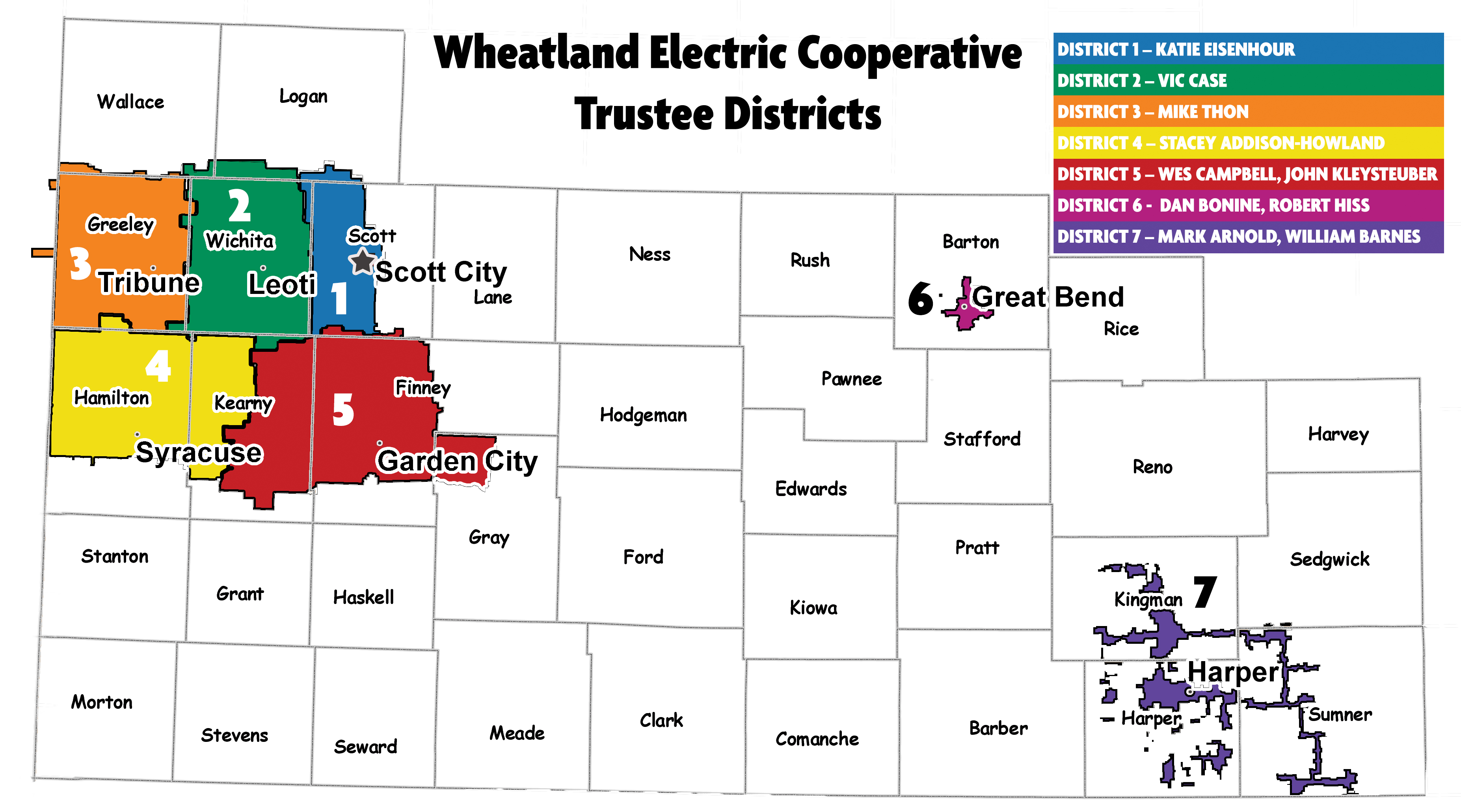 Wheatland District Map with Trustees